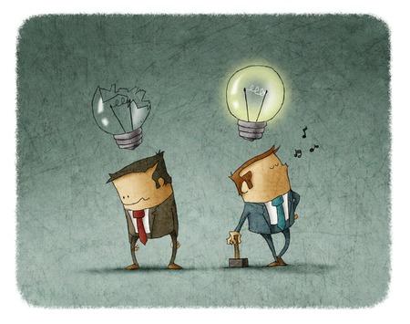 Droevige zakenman met gebroken lamp en andere gelukkig man met hamer zingen een lied met verlichte bol