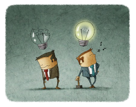 sad businessman: Sad businessman with broken bulb and other happy man with hammer singing a song with lighted bulb
