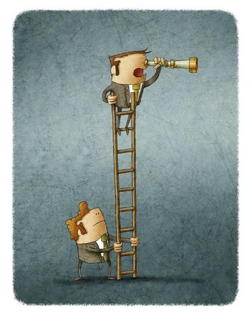 Hombre que mira el catalejo, otro de explotación de la escalera. Ilustración. Foto de archivo - 67942807
