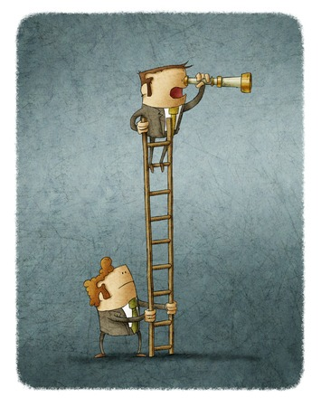 colleagues: Man looking at spyglass, other holding the ladder. Illustration. Stock Photo
