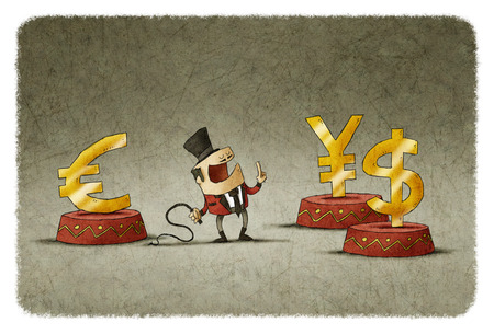 controlling: tamer controlling euro, dollar and yen symbols with whip