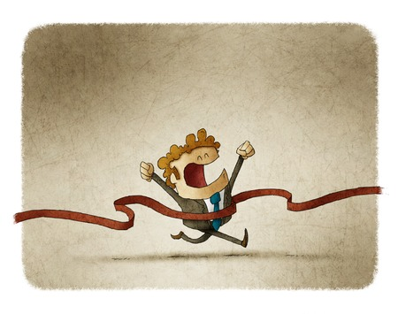 reached: illustration of a businessman who has reached the finish line.