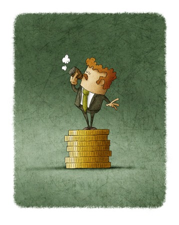 rich people: Illustration of businessman smoking cigar while standing on stack of golden coins Stock Photo