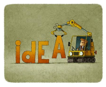 Zakenman in tractor gebouw woord idee Stockfoto