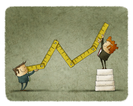 economic growth: Businessmen holding ruler symbolizing economic growth