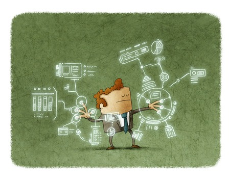 eyes closed: Illustration of businessman with eyes closed touching sensor screen