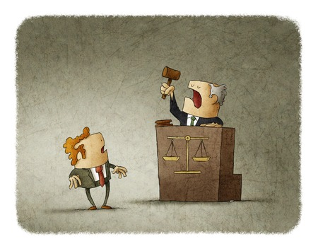 pronounce: Judge with court hammer passing a sentence to a shocked man. Illustration.
