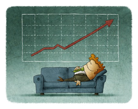 successful businessman: Businessman sleeping on sofa against of successful graph  with growing showing Stock Photo