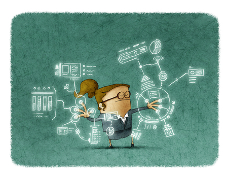 eyes closed: Illustration of businesswoman with eyes closed touching sensor screen