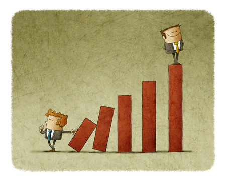 bar graph: Rival pushing the blocks of carreer ladder with successful man on top Stock Photo