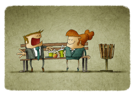 Illustration of businesswoman and businessman eating and drinking on bench
