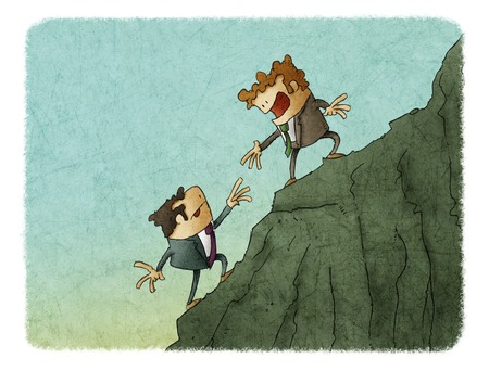 illustration of man Bring hand up a friend to top the peak of mountain. Business success goal together.