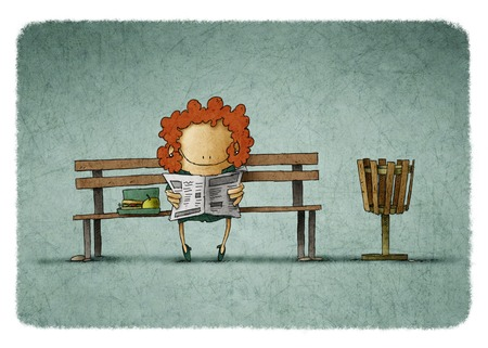 to go: Illustration of smiling businesswoman with lunch box reading newspaper on bench.