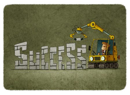 building bricks: Illustration of businessman building word success using bricks and tractor