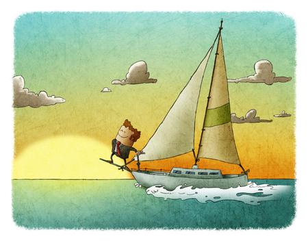 笑みを浮かべての成功の男彼のヨットの上に立って、夕焼けの海で帆走します。