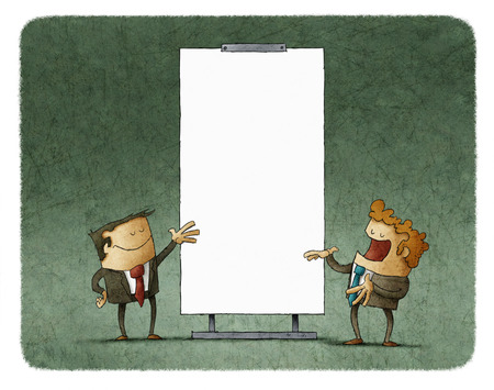 two men talking: Two men talking about agenda while gesturing at white board