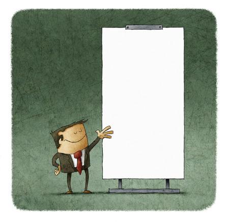 Vertrouwen zakenman het geven van een presentatie op witte raad