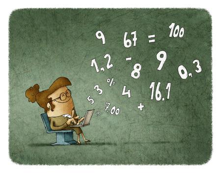 La mujer en gafas de calcular los números en la computadora portátil mientras está sentado en la silla Foto de archivo - 66262112