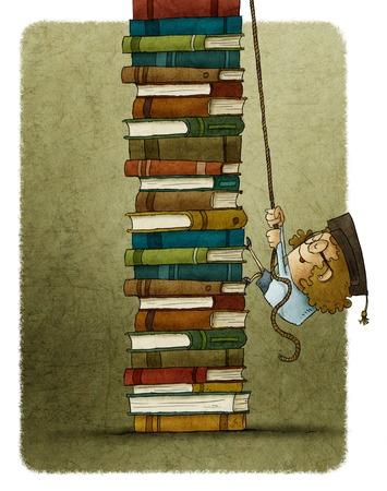 illustratie van de vrouw klimmen op touw een stapel boeken
