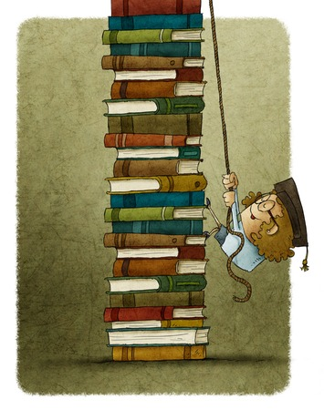 rope ladder: illustration of woman climbing on rope a pile of books