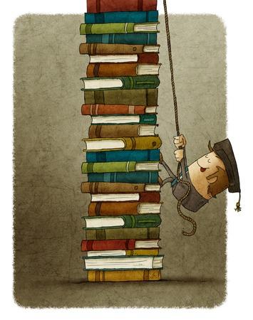 Ilustración del hombre que sube en cuerda de una pila de libros. Foto de archivo - 66087820
