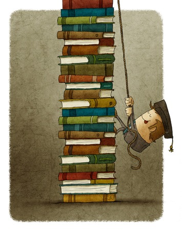 illustration of man climbing on rope a pile of books.
