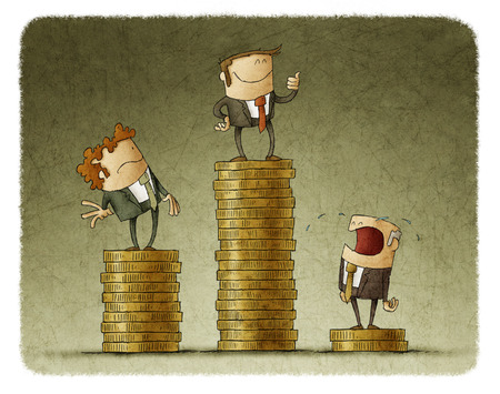 inequality: Drawing of three cartoon businessmen standing on different pedestals made of coins showing inequality.