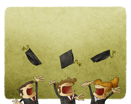 graduating: illustration of Group Of Graduating Student Throwing Caps In The Air