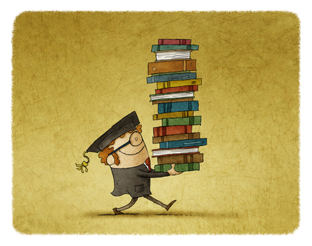 Illustration of graduate student carrying a stack of books.
