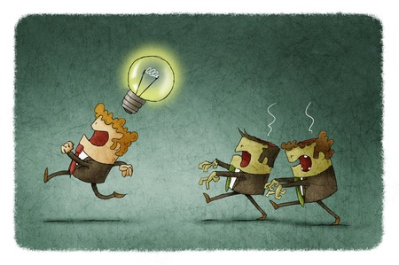 steal brain: Businessman with an idea run away because two zombie businessmen want to steal it