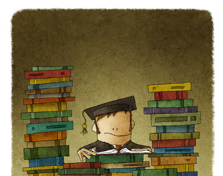 Caricature drawing of person in academic hat reading and surrounded with mountains of books.