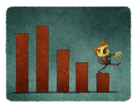 illustration of Zombie businessman walks on a bar graph descending