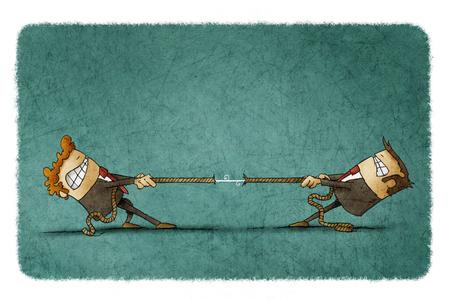 Ilustración de dos hombres de negocios tratando de tirar de una cuerda entre sí Foto de archivo - 66074265