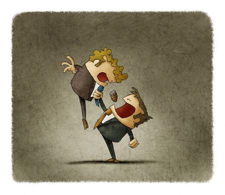 Illustration der wütend Geschäftsmann der Chef schreit und ein anderer hält Standard-Bild - 66447285