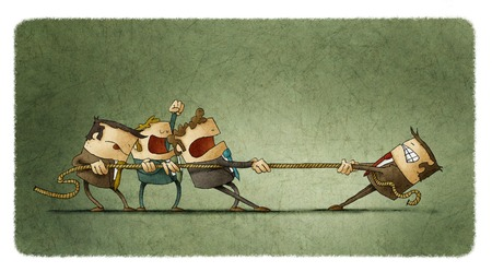 pulling: Illustration of business people pulling a rope against their boss Stock Photo