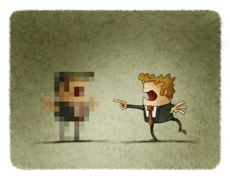 Hombre de negocios se sorprende al ver a otro que es pixelada Foto de archivo - 66958041