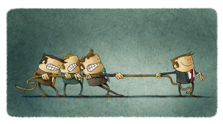 Ilustración de una escena de tirón de la cuerda en el que tres personas se esfuerzan por hacer frente a un hombre