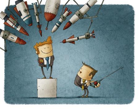 Neidische Geschäftsmann greift einen anderen Mitarbeiter mit Raketen Standard-Bild