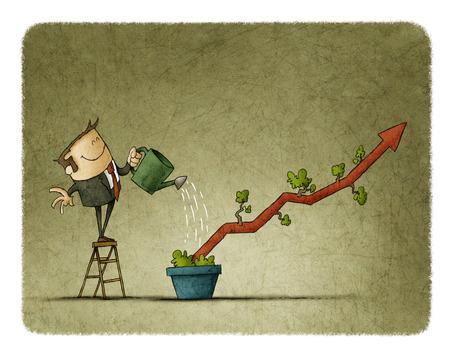 ビジネスの男性形の植物に水をまくように鍋でグラフ