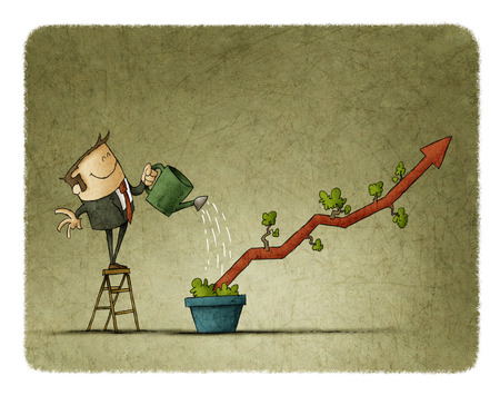 Business man Watering a plant shaped like a graph in a pot