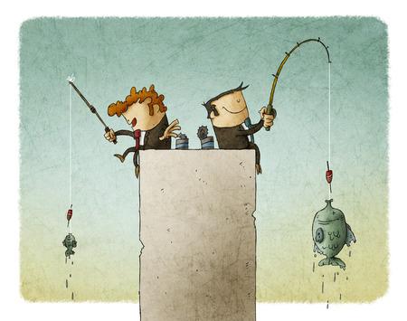 Los hombres de negocios que se sientan en un bloque gris y haciendo pesca.
