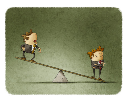inequality: illustration of business corporate inequality concept with businessmen on a scale