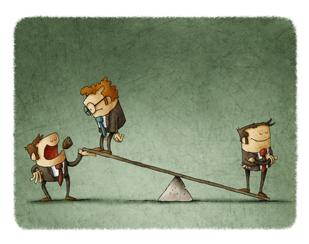 outweighs: Businessman on scales outweighs other businessman, with boss help.