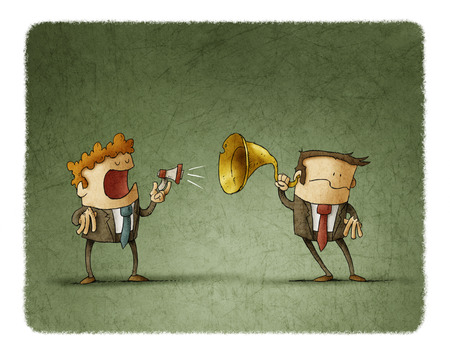 Hombre de negocios habla a otro por un pequeño megáfono, el otro hombre de negocios lo oye con una trompeta de oído Foto de archivo - 71650588