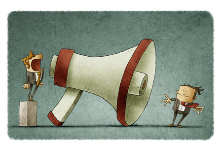blown: illustration of boss shouting at businessman through a big megaphone so loudly his hair being blown by strong wind.