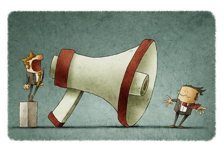 Ilustración de jefe gritando en el hombre de negocios a través de un megáfono grande tan fuerte el pelo siendo soplado por el viento fuerte. Foto de archivo - 71783843