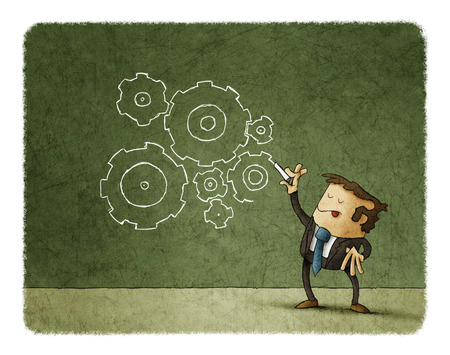 Concept of business, man drawing gears Foto de archivo