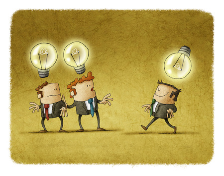 Two businessmen with one idea look at another who has a different idea Standard-Bild