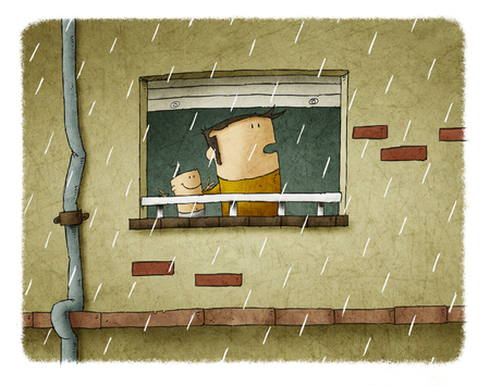 Father and son are looking through the window while it rains Foto de archivo