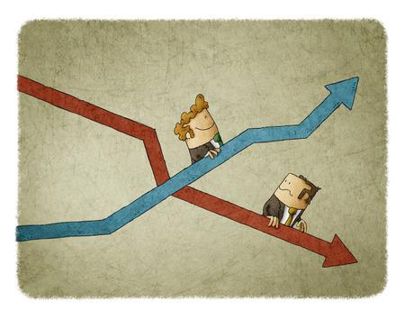 Auge y caída de los indicadores de negocio. Concepto de escaleras mecánicas Foto de archivo - 74768834